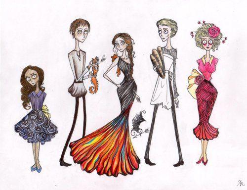 Tim Burton-ized Hunger Games Characters! Prim, Gale, Katniss, Peeta, and Effie.Burton Version, Catching Fire, The Hunger Games, Hunger Games Drawing, Burton Hunger, Games Character, Tim Burton, Inner Nerd, Burton Style