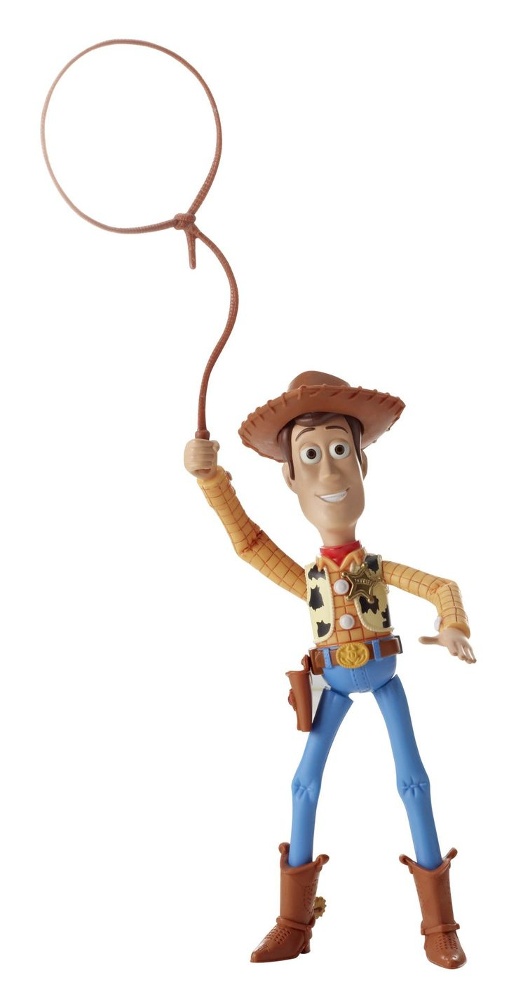 Toy Story Deluxe Round Em Up Sheriff Woody Figure. Based on characters from the Disney/Pixar hit Toy Story films. Figure replicates the iconic motion features from the movies. Squeeze Woody's legs to watch him lasso. Recreate your favorite scenes from the Toy Story movies. A great gift for any Toy Story fan.