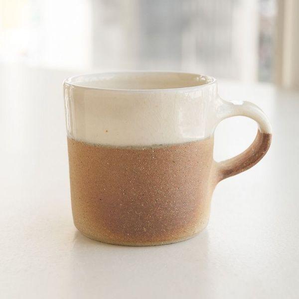 画像1: 【出西窯】切立マグカップ(白下焼〆)