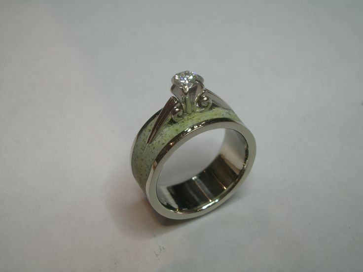 Custom Heirloom Engagement Band Inlayed in Concrete in White Gold Wedding Band www.organicmetalgallery.com