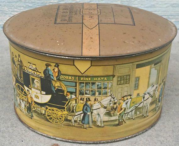 Dobbs Hat BoxVintage Tin Salesman Sample Hat BoxSmall Tin