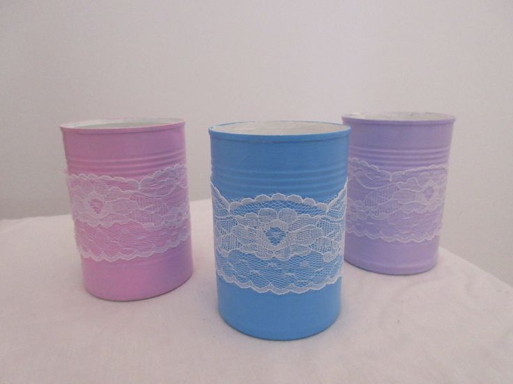 5x Handmade Lace Tin Cans by BowsandSurprises on Etsy