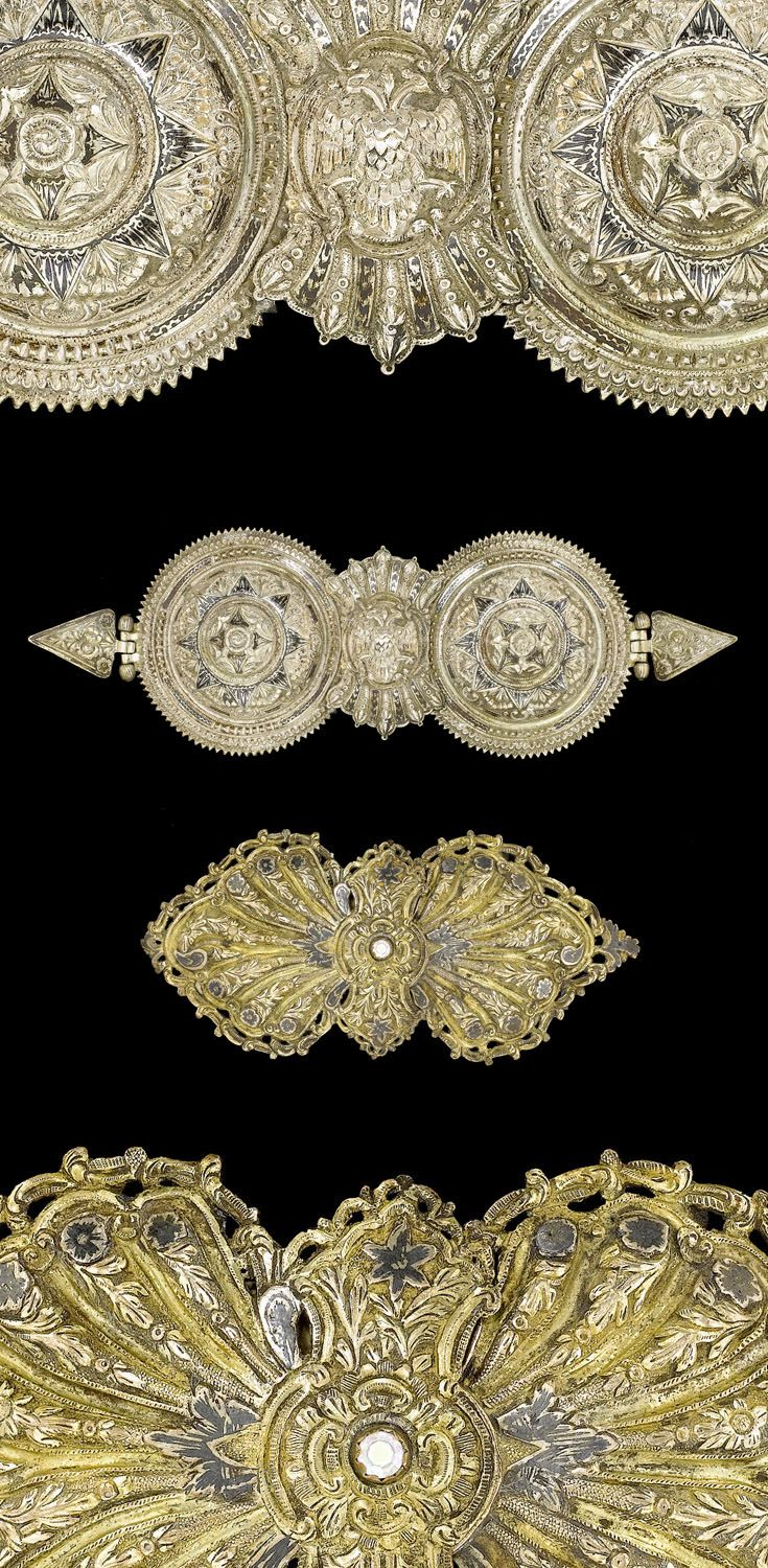 Belt buckles || Top) Silver and niello.  Provincial Ottoman.  19th century | Bottom)  Ottoman silver gilt and niello.  Turkey. || 840£ ~ sold (Apr '08)