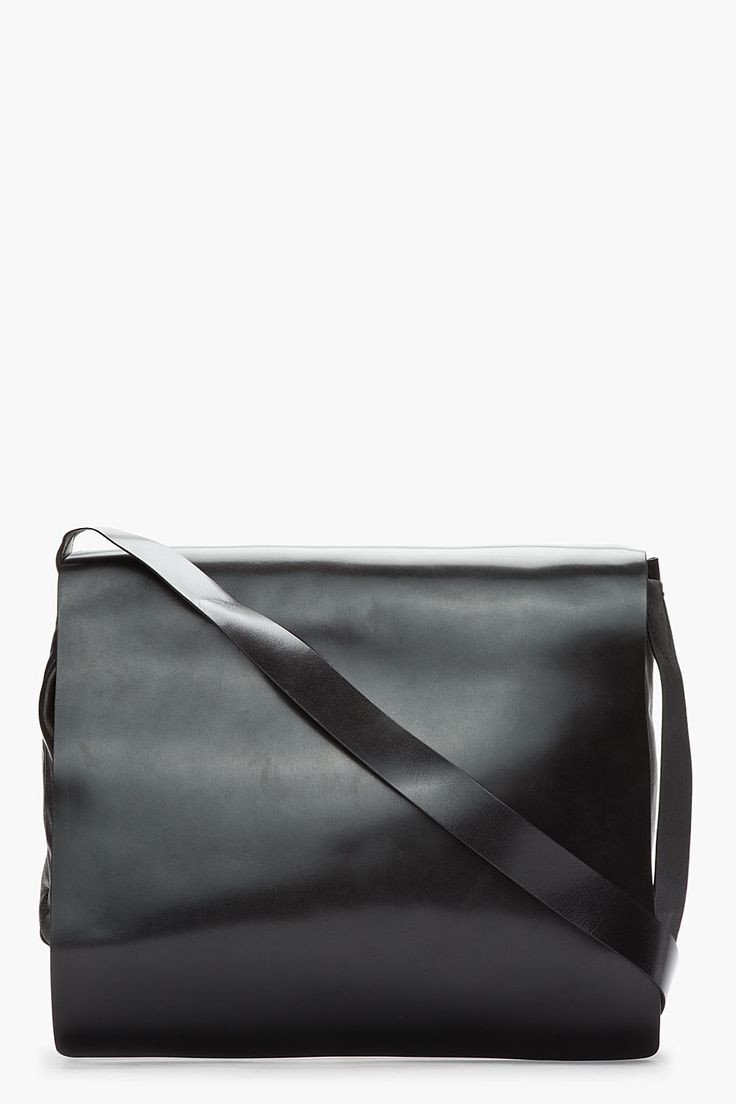 Ann Demeulemeester | Black Leather Messenger Bag