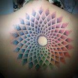 Colorful Mandala Tattoo on Womens Back