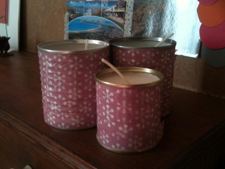 bougies boites de conserves + masking tape