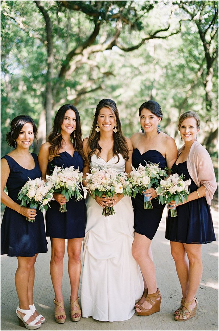 351 best bridal besties images on pinterest bridesmaids bridesmaids in navy with blush bouquets ombrellifo Gallery