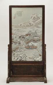 Lot 115 S72 - Chinese Porcelain Plaque Scene of Winter Landscape - Est. $500-800
