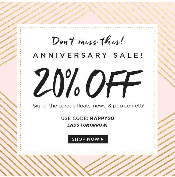 Our 20% Off Anniversary Sale ends tomorrow! Click through to shop!
