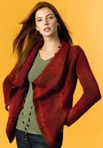 This unimaginable made red color sweater creates a beautiful draping font , with the colour to match with any season and therefore the sometimes delicate pattern makes it good for all the women who seeks one thing which is elegant style and special design to wear at any month of the year. #knitting #knit #hobbies | Housewiveshobbies.com