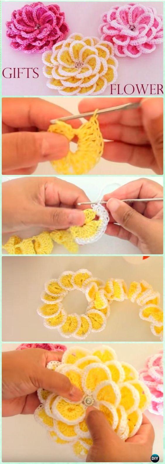 My Hobby Is Crochet: Crochet 3D Flower Motif Free Patterns & Instructio...