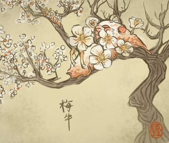 547番目。梅の時期になると、海から山へあがって梅の花を食い荒らす。 体に梅の大輪を咲かせて良い香りを放つので、これはこれでいいという人もいる。 #畳百鬼夜行絵巻