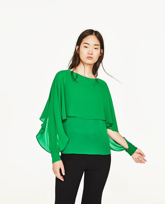 Image 2 of DOUBLE-LAYER FLOWING BLOUSE from Zara