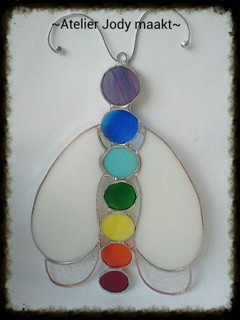 Stained glass Chakra butterfly made bij Atelier Jody maakt. Www.jodymaakt.blogspot.com