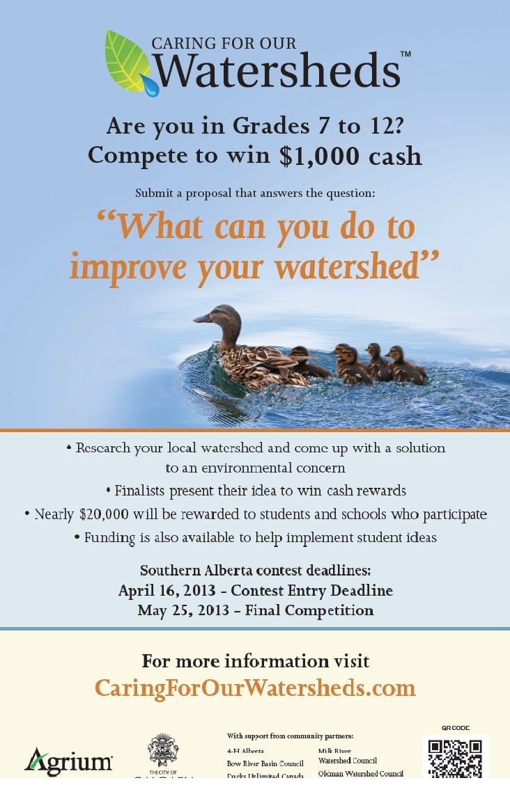 """A youth contest sponsored by Agrium and promoted by the OWC. Youth answer the question """"what can you do to improve your watershed?"""" by proposing a project that they could accomplish."""