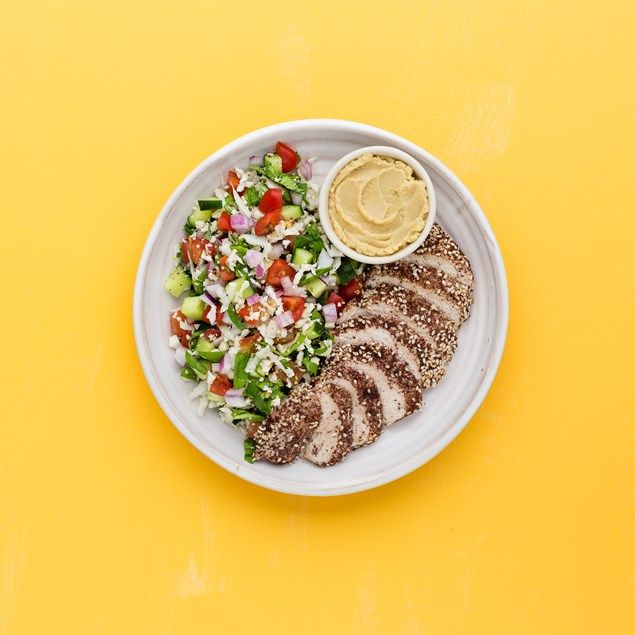 With cauliflower, cucumber and tomato tabbouleh.