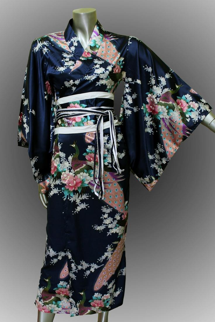 Bridesmaid Silk Robes Black Painting Peacock Design Gown Robe Kimono. Thai chilli