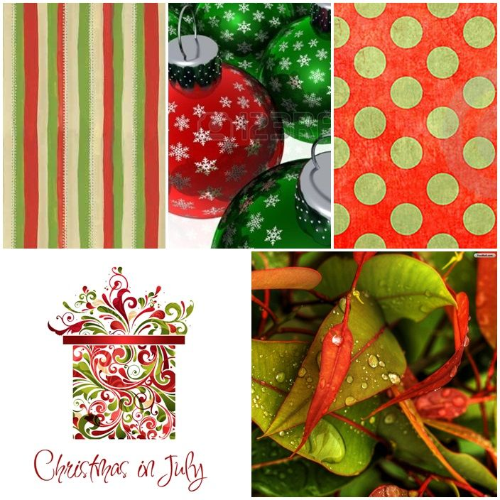 """Celebrating """"Christmas in July"""" this month's MoodBoard is a flurry of patterns (stripes, spots/dots, stars and swirls) and the traditional Christmas colour combination of red and green."""