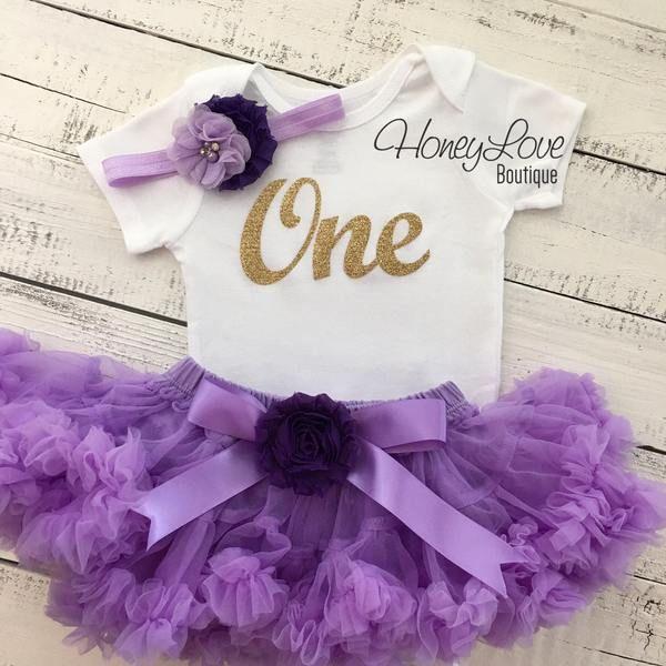 Lavender 1st Birthday Tutu Outfit Glitter 1st Birthday Outfit First Birthday Shirt Silver Tutu Outfit Cake Smash Outfit 1st Birthday Flower