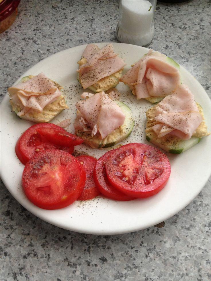 Low carb lunch: cucumber, hummus, turkey, salt pepper