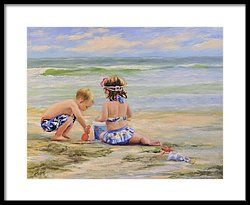 🌹Beach Babies And Toys Framed Print by Katherine Tucker