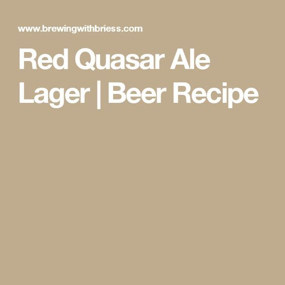 Red Quasar Ale Lager | Beer Recipe