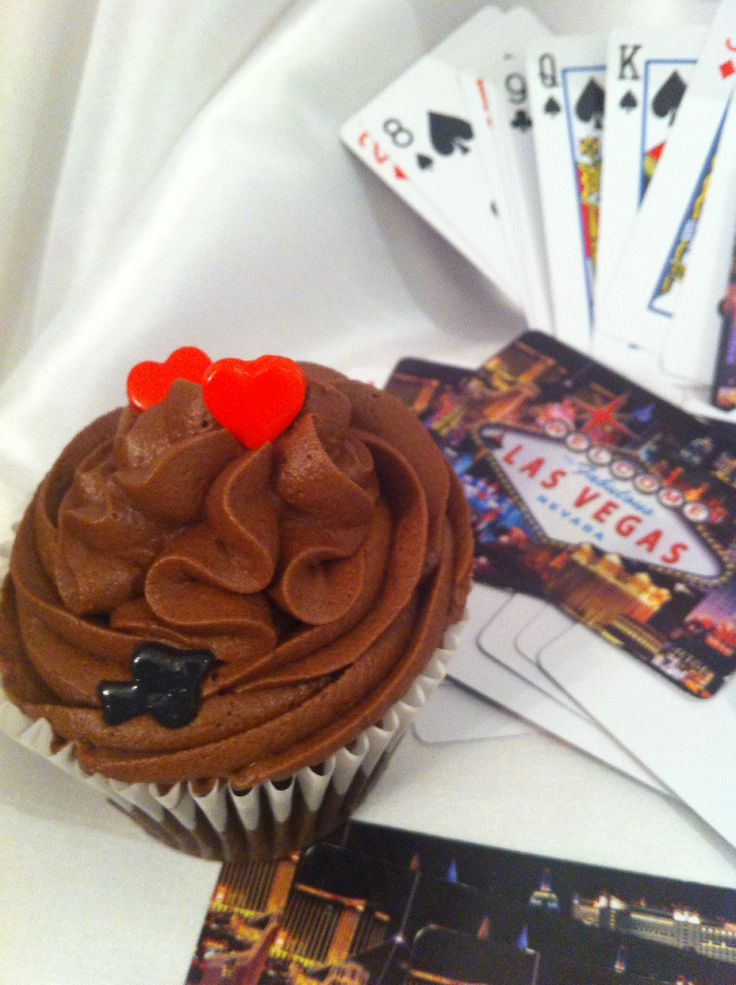 Las Vegas cupcakes and cakes pops -hearts -spade...edible fondant in chocolate frosting cupcake