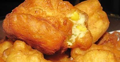 Mielie Vetkoek Recipe - A South African favourite -- Yummy with crispy bacon for Breakfast, or smaller as snacks, with your dip of choice.