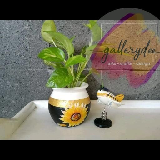 Video Tutorial on Painting Sunflowers in Earthenware Pots Painting Sunflowers Painting Flowers