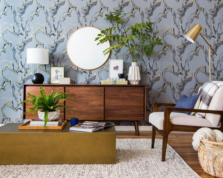 a neutral mid century living room vignette temporary