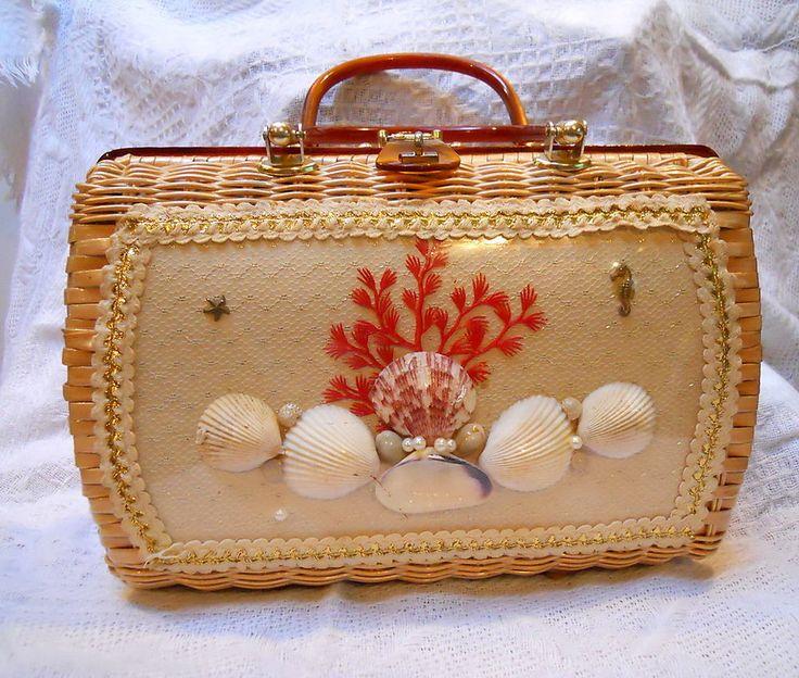 Vintage CHARMING ATLAS Wicker Seashell Purse Bakelite Handles #CHARMINGBYATLAS #WickerHandbag