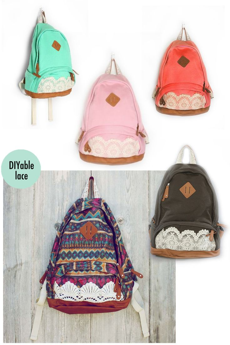 lace backpacks.....if I ever go to college I will get one of these!