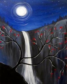 easy waterfall painting acrylic - Google Search