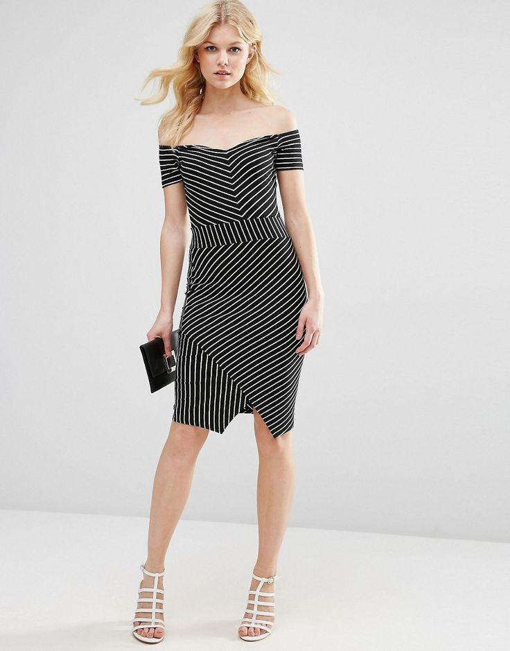 Image 4 ofASOS PETITE Bardot Asymmetric Bodycon Dress in Stripe