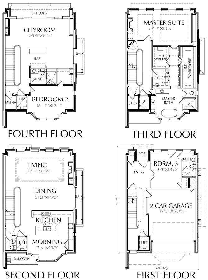 Modern Townhouse Design Brick Row House New Town Home Development Preston Wood Associates House Floor Plans Floor Plans House Plans