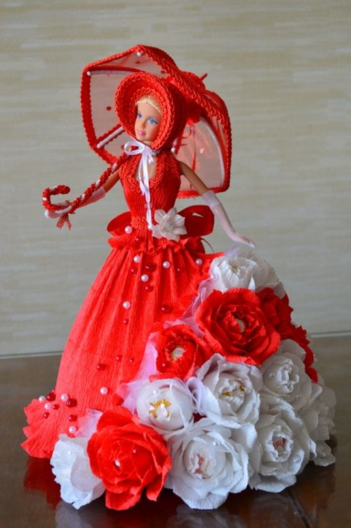 DIY Barbie Chocolate Bouquet dress-09