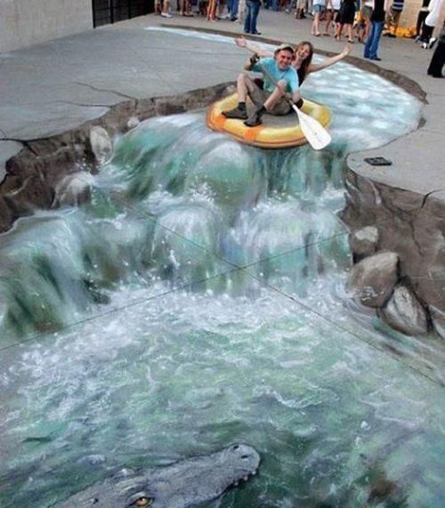 Amazing! Street Art--there is an alligator at the bottom of the picture, see it?