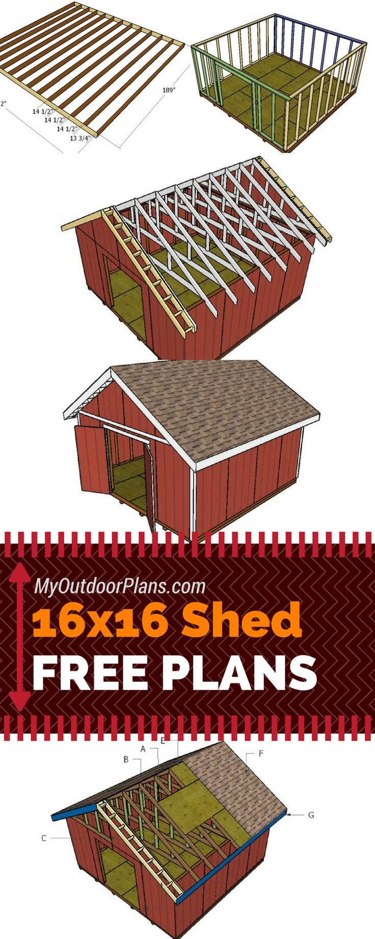 Free plans for you to learn how to build a 16x16 shed with a gable roof