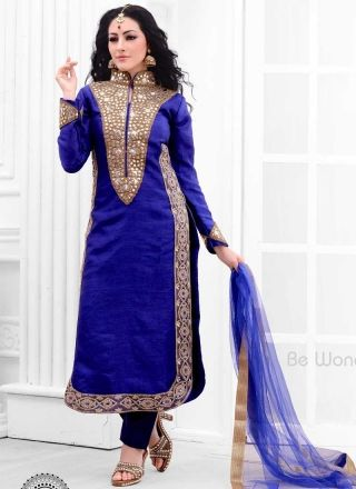 Blooming Royal Blue Raw Silk Embroidery Mirror Work Churidar Suit