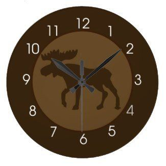 """Rustic Moose Lodge Brown Round Large 10.75"""" Wall Clock  #10.75 #Brown+ #Clock #Large #Lodge #Moose #Round #Rustic #RusticWallClock #Wall The Rustic Clock"""