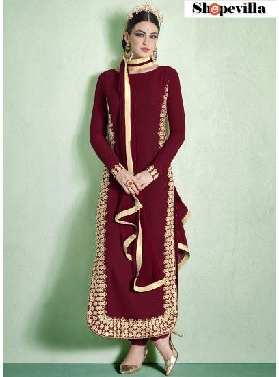 Maroon Bhagalpuri Silk Straight Cut Suit-1011-B