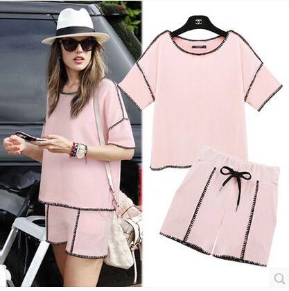 2015 nova moda feminina solto verão rosa confortável feminino Sports Shorts mulheres terno ajustado camisola + calças em Moletons de Roupas e Acessórios Femininos no AliExpress.com | Alibaba Group