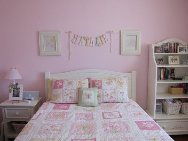 Good Soft Pink Bedroom Paint With Two White Wood Wall Mounted Picture Frames And Corner Space White Storage Cabinet Ideas