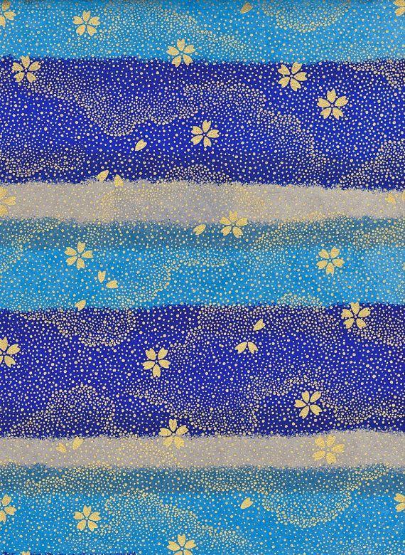 #SephoraColorWash  Gold, Grey Blue Japanese Yuzen Chiyogami Washi Paper Sheet