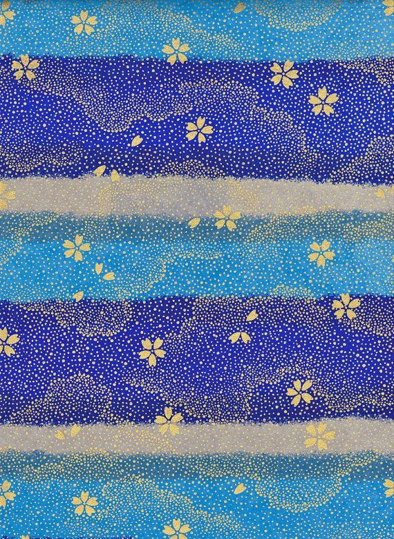 Gold Grey Blue Japanese Yuzen Chiyogami Washi Paper by mosaicmouse, $2.00