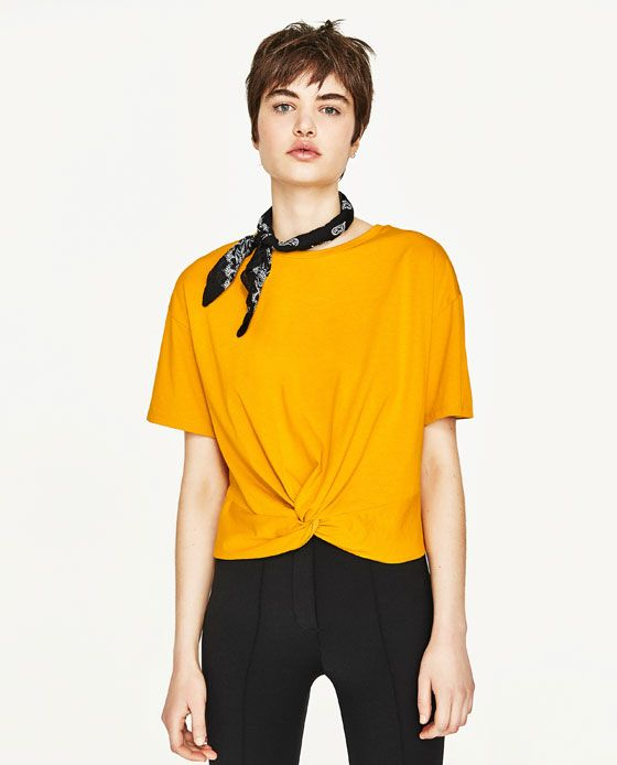 Image 2 of KNOTTED T-SHIRT from Zara
