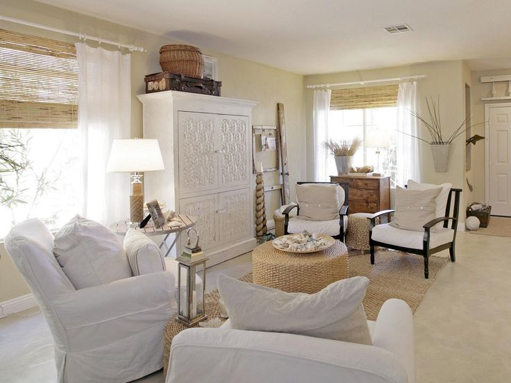 Cottage Living Room Furniture Part - 46: HGTV Fan Homemomu0027s White-on-white Living Room Brings An Airy Beach Feel To  Her Arizona Home. Natural Textures Plus Seaside Accents Complete This Cozy  Look.