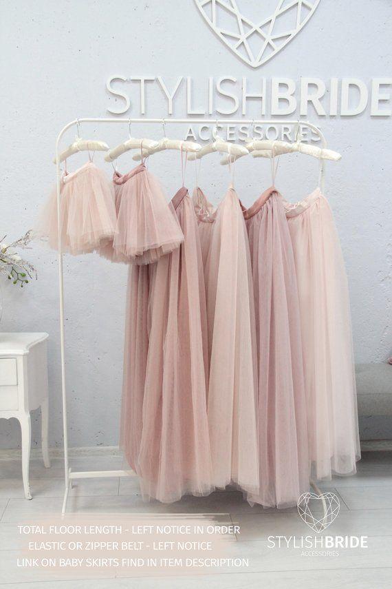851f3ac8b9a1 Waterfall Blush Palette Long Tulle Skirt Casual Floor Women's, Tulle Skirt  Light Blush Bridesmaids Tulle Skirt, Wedding Long Tulle Skirt | MY CLOSET!!