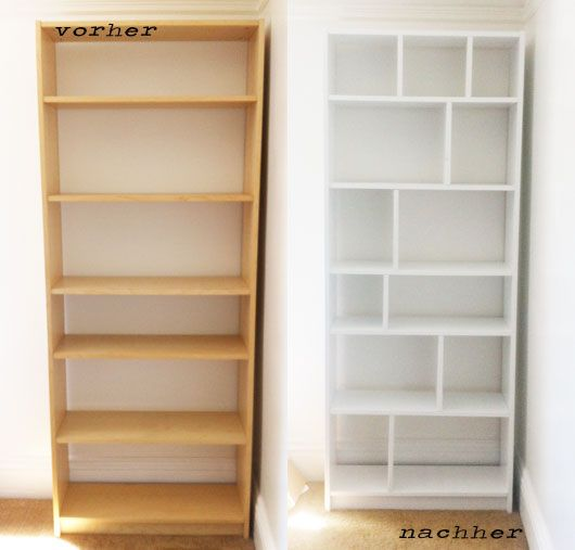 "Add vertical shelves to upgrade the IKEA Billy. Much less ""bookcase."""