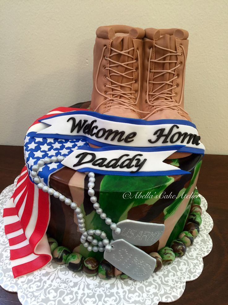 Camouflage, Combat Boots, Flag and Tags Welcome Home Cake